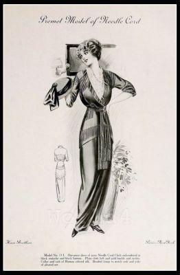 France Fin de siècle fashion. French haute couture gown. Belle Epoque cocktail dress by Couturier Mdm. Premet.