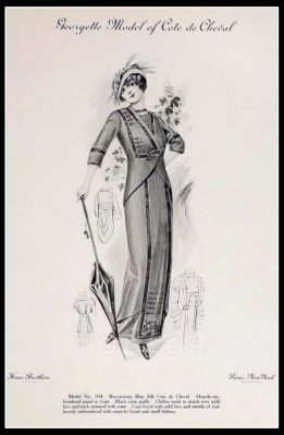France Fin de siècle fashion. French haute couture gown. Belle Epoque costume by Couturier Georgette Gabey.