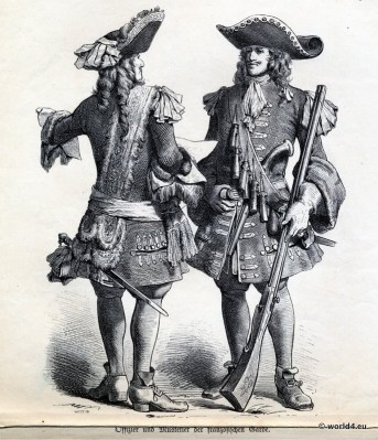 French Guard, Musketeer, Officer, Baroque, Nobility, French, costume, fashion history, historical, dress, 17th century, Louis XIV
