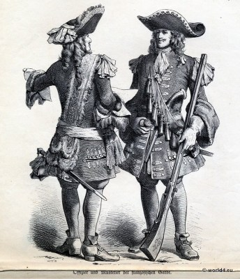 King Louis XIV fashion. French baroque military and nobility costumes. Allonge wig, Baroque period mens dress.