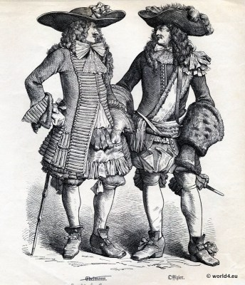 French Musketeer costumes. King Louis XIV. fashion. French baroque costumes.