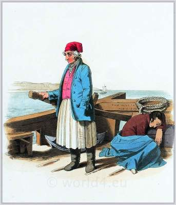 French national costumes. Dieppe, Seine-Maritime, Haute-Normandie. France folk clothing