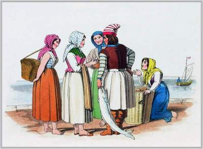 French traditional national costumes. Boulogne-sur-Mer folk clothing