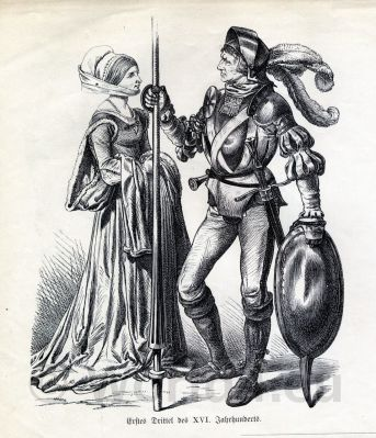 German knight in armor and weapons. German Medieval dresses for women and men. Renaissance costumes 16th century