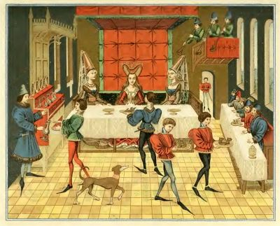 Burgundian fashion. Medieval court etiquette. Middle Ages Court dresses. 15th century costumes
