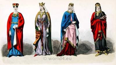 Carolingian Middle Ages Dresses. French Medieval nobility Fashion. Headdresses. костюм средние века