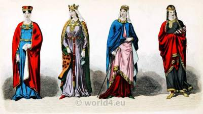 CAROLINGIAN PERIOD, Middle Ages, France Queens, Medieval, 8th century clothing.