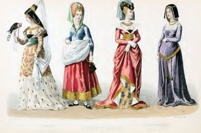 Medieval costumes, Middle ages fashion history, 14th, 15th century fashion. Burgundian, Burgundy clothing, Hennin.