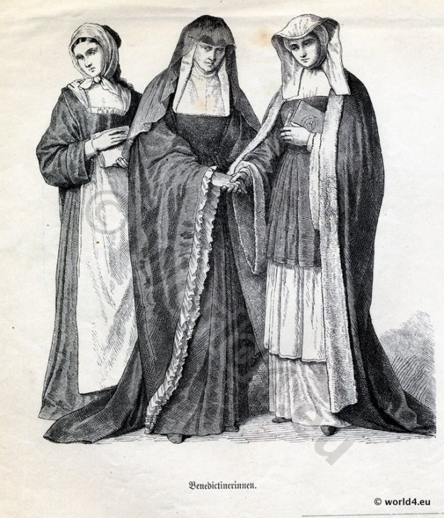 Monachism. Monastic costumes history. Benedictine Nuns habit.