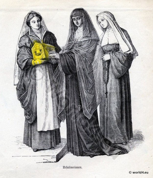 Monachism. Monastic costumes history. Ursuline Nuns habit.