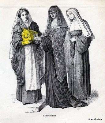 Ursuline, Nuns, costumes, Ecclesiastical, Dress, Monastic, clothing.