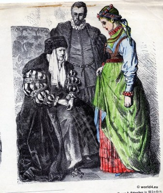 Poland Renaissance fashion. Historical Poland costumes. Middle Ages women`s and mens fashion.