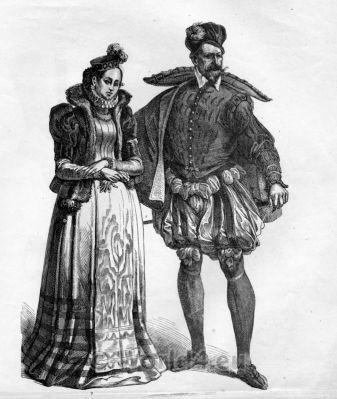 French Renaissance Costumes. Nobility Middle Ages Women`s Fashion. Middle Ages Men`s dress. костюм средние века