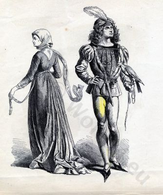 French fashion. Renaissance. 15th century costumes. Burgundian Gothic dresses