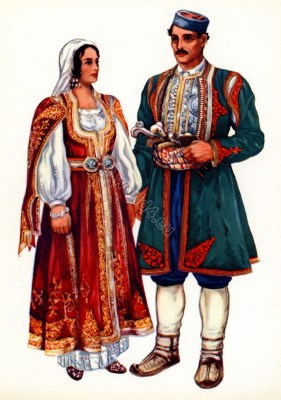 Montenegro national costumes. Folk dresses from Risan. Traditional Serbian national costume.