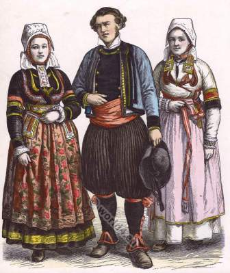 Traditional French national costumes. Brittany folk dresses.