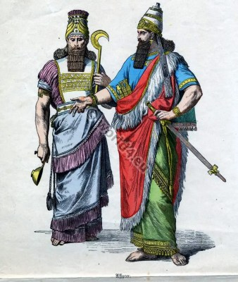 Assyria, costumes, fashion, history,Münchener Bilderbogen,King, crown, weapons, armour,Priest, tiara