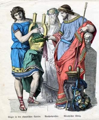 Ancient Greek clothing. Athletes. Bacchus priest. Greek King.