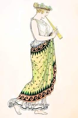 Ancient Greek Costumes.Female flute player. Greece Headdresses and hairstyle