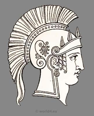 Ancient Roman goddess Minerva head dress and helmet. Antique Warrior and soldiers uniforms.