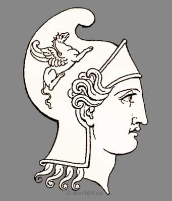 Ancient Roman warrior, soldier head dress and helmet. Antique Warrior and soldiers uniforms.