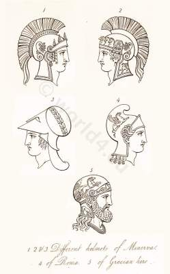 Ancient Roman helmets and head dresses. Antique Greek Warrior and soldiers uniforms