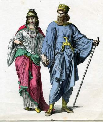 Ancient Medes nobility costumes and court dresses. Costume History. Template for carnival costume ideas. Women`s and Mens clothing