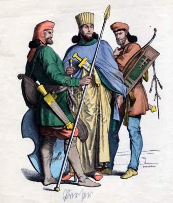 Ancient Persian warriors and king costumes. Antique Persia, Iran clothing. Oriental soldiers. Münchener Bilderbogen