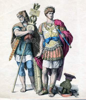 Military costumes of ancient Rome. Centurio General in armor. Germanic mercenaries with standarte