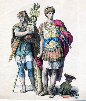 Military costumes of ancient Rome. Centurio General in armor. Germanic mercenaries with standarte