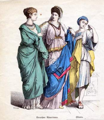 Roman clothing, fashion and costumes. Ancient Hairstyle, jewlery