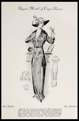 France fashion. French vintage gown. Art Deco costume.