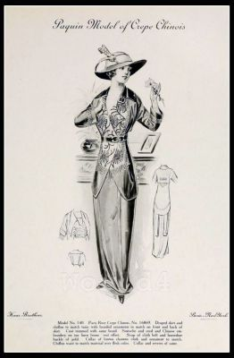 France Fin de siècle fashion. French haute couture gown. Belle Epoque costume