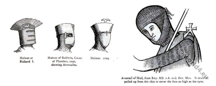Aventailes. Middle ages helmet. Knight armor