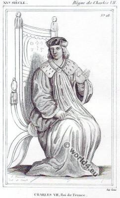 Charles VII. le Victorieux. Roi de France. Middle ages costume history.
