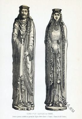 Clovis I and Clotilde. 5th century merovingian King and Queen costumes