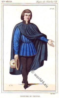 France medieval male costumes. Middle ages costume history. 15th century fashion.