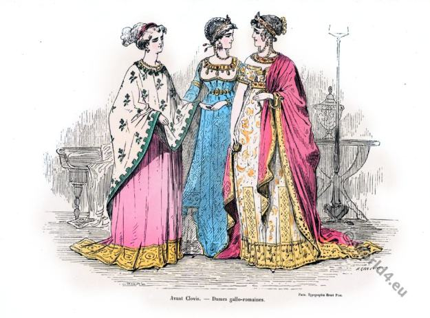 4th century clothing, Gauls costumes. Merovingian history, Gallic, Gallo-Rom,