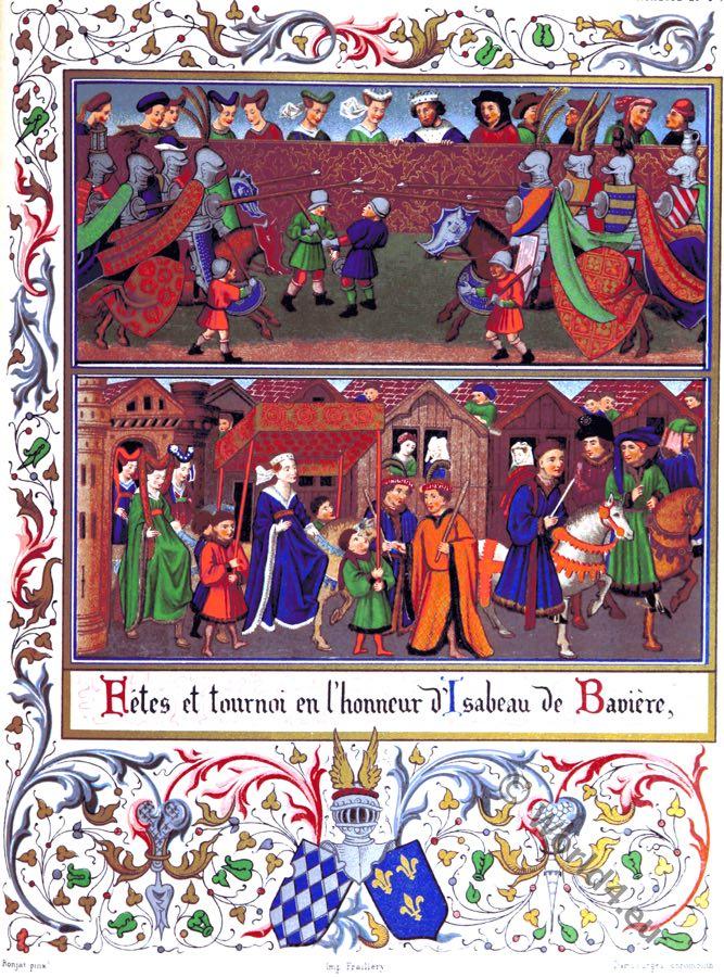 Isabeau of Bavaria. Isabeau de Bavière, French Queen. Middle ages. costumes. tournament