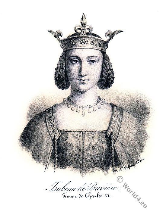 Isabeau of Bavaria, French Queen, Charles VI, Wittelsbach, Isabeau de Bavière, middle ages, medieval, portrait, costume