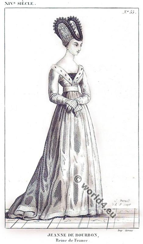 Jeanne de Bourbon, Reine de France. Middle ages, costume, history, 14th century, fashion.