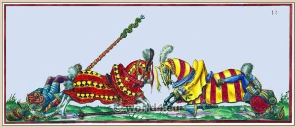 Knights tournament jousting. Heavy cavalry. 16th century military. Renaissance Tournament
