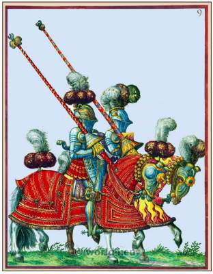 German knights in armor. Renaissance soldiers. 15th century costumes.
