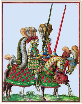 Medieval tournament. Heavy cavalry 16th century. Renaissance military clothing.