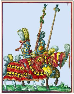 Two mounted Knights. Heavy cavalry 16th century. German Renaissance military