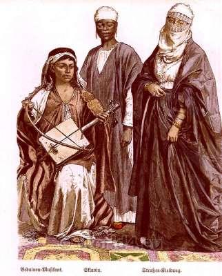 Traditional arabian clothing for man and women. Egyptian Female dresses Niqab, Kufiyya and Jilbab