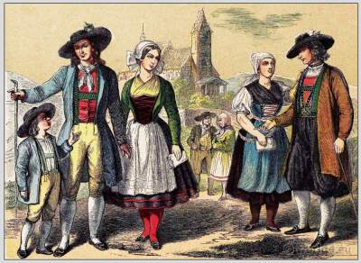 Traditional Woman`s and Mens Dress from Transsylvania. Siebenbürgen folk dresses and clothing. East european national costumes.
