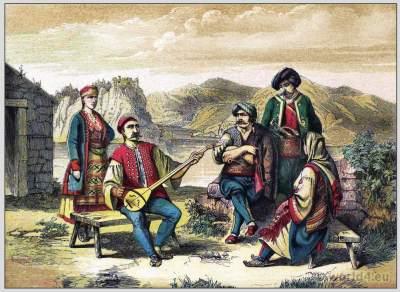 Traditional Woman`s and Mens Dress from Dalmatia. Maurowalachen, Morlakian folk dresses and clothing. East european national costumes.