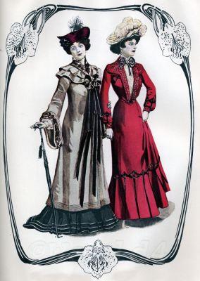 Art Nouveau costumes. Fin de siecle vintage fashion. 19th century clothing