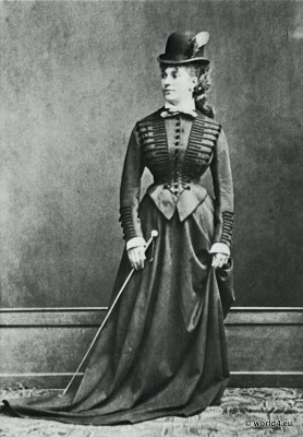 Bustle. Cul de Paris. German fashion Turnüre costume. Clothing of the period of the 1870s. Corsage and corset.